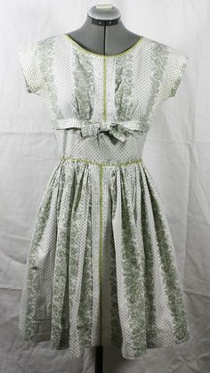 Vintage Dress 1950's White with Green Polka by ilovevintagestuff