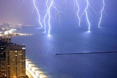 Lightning Strikes on Lake Shore Drive, Lake Michigan (searched Google Images for this cool pic, which a FB friend of mine had shared)