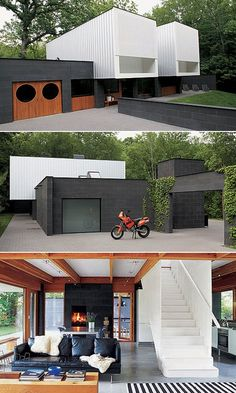 How great are shipping container homes?! Streeter Home, Deephaven, Minnesota ( awesome black CMU blocks, and texture/color contrast)
