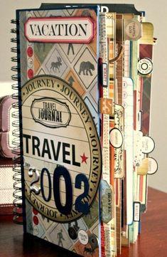 Diario di viaggio e un'idea per la decorazione della copertina, collage di ritagli e scritta originale dell'anno 2002