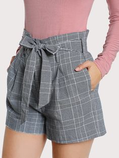 Elegant Plaid Straight Leg Regular Zipper Fly Mid Waist Grey Tie Waist Inseam Pocket Side Shorts with Belt Cute Fashion, Fashion Pants, Fashion Dresses, Womens Fashion, Tie Waist Shorts, Plaid Shorts, Gray Shorts, Cotton Shorts, Short Outfits