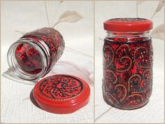 RichanaDragon ||| Mysterious Bloom. Small glass jar with black and red floral pattern. Bank cover is also painted. Hand painted stained glass.