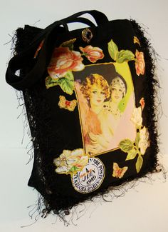 You have to see this lovely #Black Canvas #Tote With Vintage Custom Fabric Appliques by paulagsell on Etsy, $32.00