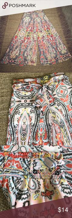 SUMMER! High Waisted GORGEOUS Palazzo Pants! SzL These pants are flowing, sheer and light with attached white undershorts - large elastic band in back and delicate material belt for that added touch of whimsy. The colors are beautiful! White, coral, delicate blue and yellow and elegant black. Like new condition! Truth NYC Pants Wide Leg