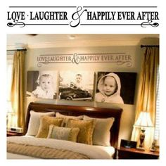 This is a great idea for over my bed and the canvas pics would be so easy to make! Modge podge the pictures to canvas! Walla! Love it