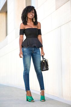 Style Pantry | Off Shoulder Peplum Blouse + Cropped Skinny Jeans waysify