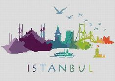 Cross Stitch Pattern İstanbul Turkiye City Silhouette tattoo pattern Cross Stitch Pattern Istanbul Turkiye City Silhouette Watercolor Effect Decor Embroidery Rainbow Color Skyline xstitch Diy Chart Silhouette Tattoos, Silhouette City, Pdf Patterns, Cross Stitch Patterns, Rosen Tattoos, Harry Potter Tattoos, Watercolor Effects, Diy Tattoo, Finger Tattoos