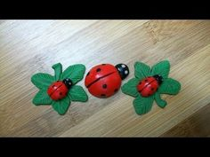 I made this with polymer clay, sculpey III! Solid, non painted lady bugs!! For colors I used red, black, moss, AND GLOW for the eyes!! Sweet! Everything is p...