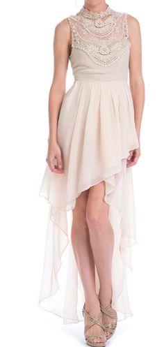 Lace Yoke Sheer Chiffon High-Low Dress