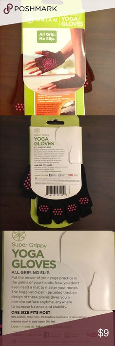 🙏🏼Yoga Gloves Never opened or used, fabulous yoga gloves. Great for beginners or those that travel a lot and can't bring a mat. One size fits most. (Slight tear in wrapping which would only be an issue giving these as a gift) No trades. Would be a great addition to a bundle! gaiam Accessories