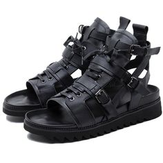 Mens Roma Gladiator Boots Buckles Open Toe Zip Leather Lace Up High Top Sandals High Sandals, Black Platform Sandals, Open Toe Sandals, Black Sandals, Leather Sandals, Men's Sandals, Leather High Tops, Leather Men, Black Leather