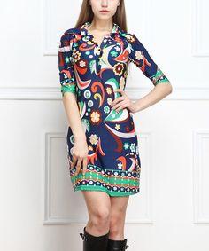 Look at this #zulilyfind! Navy Sixties Pop Collar Shirt Dress #zulilyfinds