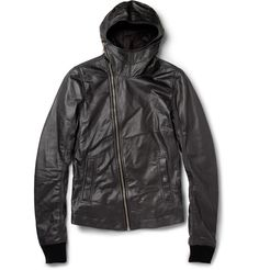 PRODUCT - Rick Owens - Hooded Leather Jacket - 371346 | MR PORTER