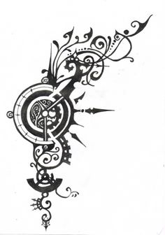 thinking a little steampunk - upper back in centre with vines going up to right shoulder