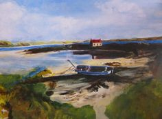 Painting in Scotland - Orkney Isles acrylic on canvas