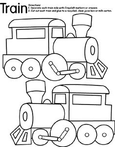 1. Use Crayola® crayons, colored pencils, or markers to decorate both sides of the train. 2. Cut out each train. 3. Glue the trains to opposite sides of a recycled cereal box or milk carton.