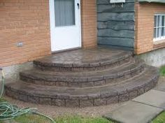 Ideas Curved Patio Steps Driveways For 2019 Best Front Doors, Front Door Entrance, House Front Door, House With Porch, Front Entry, Porch Stairs, Entry Stairs, Outdoor Stairs, Concrete Front Steps