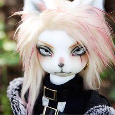 bjd sd doll 1//6 long ear cat dolls resin model reborn face make up eyes white