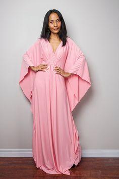 Pink Maxi Dress Kaftan Kimono Butterfly Dress: Funky by Nuichan Frock Dress, Kimono Dress, Bridesmaid Dresses Plus Size, Plus Size Dresses, Pink Maxi, Pink Dress, Kaftan Style, Pink Gowns, Oversized Dress