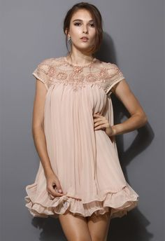 Beads Embellished Pleated Dolly Dress in Nude Pink-- seems perfect for pregnancy also!! :) WANT