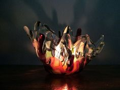 Lovely fused glass candle holder by ColleenGail on Etsy, $35.00