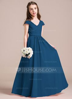 A-Line/Princess V-neck Floor-Length Zipper Up Sleeves Short Sleeves No Watermelon General Chiffon Lace Junior Bridesmaid Dress Wedding Dresses For Girls, Junior Bridesmaid Dresses, Little Girl Dresses, Dresses For Teens, Girls Dresses, Flower Girl Dresses, Taffeta Dress, Lace Dress, Ball Dresses