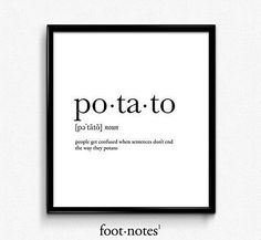 Potato definition, dictionary art print, funny poster, poster