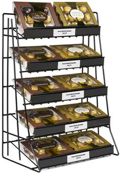 5-Tier Countertop Wire Rack, Sign Channel - Black