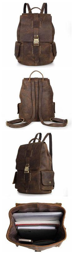 Vintage Style Crazy Horse Leather Backpack, Rucksack, Travel Backpack
