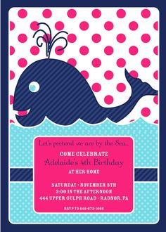 navy + pink whale invite