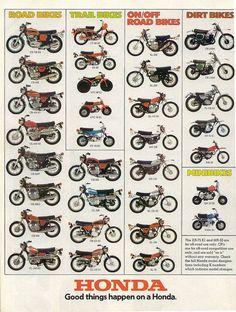 Vintage Motorcycles Classic 1974 Honda Line Up Full Line Vintage Motorcycle Poster Print Vintage Honda Motorcycles, Honda Bikes, Honda Cb750, Cool Motorcycles, Honda Scrambler, Honda 125, Cb550, Motocross Vintage, Enduro Vintage