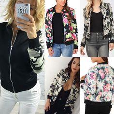 Fashion Women Floral Zipper Blazer Suit Casual Bomber Jacket Camo Coat Outwear #Bomber #Casual