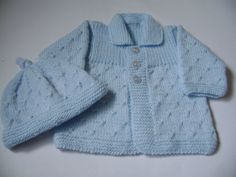 Knitted Baby  Sweater and Hat Set  0 to 3 Months by Pitusa on Etsy, $45.00