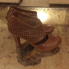 Loeffler Randall leather booties Sz 8.5 Brown leather ankle booties with perforated top and almond toe. Platform so super comfortable to wear. Like new - only worn once indoors! Loeffler Randall Shoes Ankle Boots & Booties