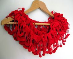 Red Cute Pom Pom Long Mulberry Scarf is just 14.99$