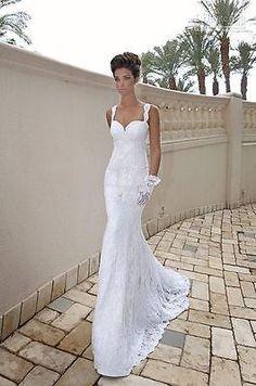 New white ivory mermaid lace wedding bridal dress custom size 6 8 10 12 14 16 18
