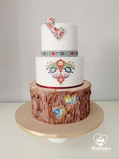 Folk wedding cake - cake by MOLI Cakes Pretty Cakes, Cute Cakes, Beautiful Cakes, Amazing Wedding Cakes, Amazing Cakes, Polish Wedding, Wedding Cake Fresh Flowers, Traditional Wedding Cake, Gateaux Cake