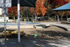 The Castro Valley Community Center's water feature is a splash pad with fountains, sprays, and water cannons.