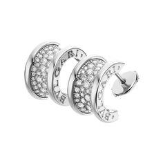 Bulgari Large B.Zero1 18k White Gold  Diamond Hoop Earrings