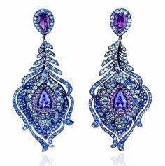Peacock Feather Earrings.