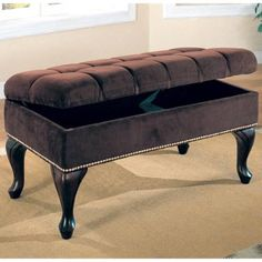 Coaster Furniture 300095 Storage Bench in Cappuccino with Tufted Buttons