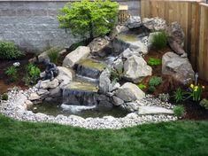 Small Waterfall Sloped Backyard Landscaping Ideas On Waterfall Landscaping Design Waterfall Landscaping, Garden Waterfall, Pond Landscaping, Backyard Water Feature, Ponds Backyard, Backyard Ideas, Backyard Waterfalls, Pond Ideas, Desert Backyard