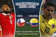 La selección de Chile jugará este jueves con su similar de Colombia con el objetivo de consolidar su buena campaña en las eliminatorias del Mundial de Rusia 2018, mientras su rival busca recuperar su mejor tono tras haber tropezado en su partido anterior. Nov 12, 2015.