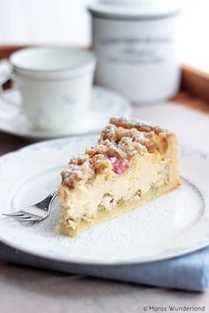 Rezept für Rhabarberkuchen: Rhabarber-Käsekuchen    Recipe rhubarb cake