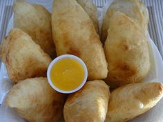 Taste the geera and hot pepper in these delicious Aloo Pies with Mango Chutney to dip!