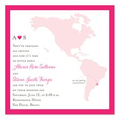 Square Mapped Destination - Wedding Invitations by Invitation Consultants. $2.04 each for 100