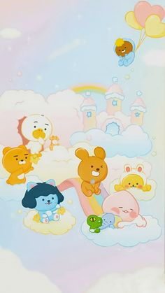 Bear Wallpaper, Pastel Wallpaper, Cute Cartoon Wallpapers, Pretty Wallpapers, Kakao Friends, Kawaii, Cute Friends, Softies, Cute Designs