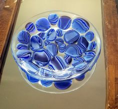 Glass Puddle Bowl in Blues by Sandra LaFond