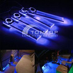 4 LED Car Interior Decorative Floor Dash Light Lamp Car Cigarette Lighter Blue in Consumer Electronics | eBay
