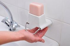 Soap Flakes bar soap dispenser - no more slippy soap bars escaping across the floor!! That's cool.